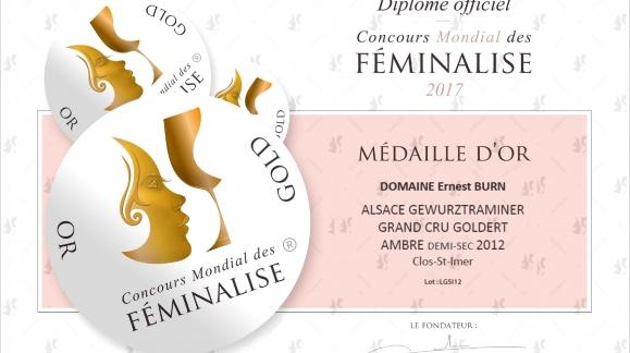 Médaille d'Or pour le Gewurztraminer Clos Saint-Imer 2012