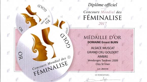 Médaille d'Or pour le Muscat vendanges tardives 2009